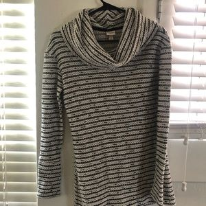 Gray and white striped cowl neck sweater